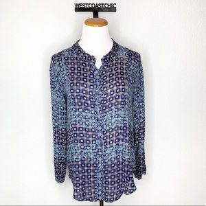 Free People Blue Jacquard Print Button Up Blouse
